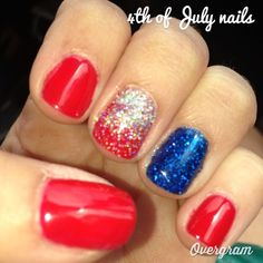 Nail art Christmas - the festive spirit on the nails. Over 70 creative ideas and tutorials - My Nails Hair And Nails, My Nails, Cute Shellac Nails, Patriotic Nails, 4th Of July Nails, July 4th, Dipped Nails, Nail Polish Colors, Nail Polishes