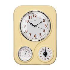 Timer & Temperature Wall Clock, Cream