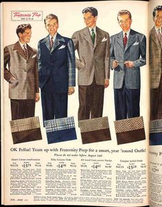 Suits and ties remained the everyday apparel of respectable young men of high school and college age until the early 1950s. This variety of sport and leisure suits is from the Fall 1946 Sears catalog. I find the nifty plaid-sleeved leisure suit (second from left) particularly fabulous.