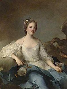 Portrait of Charlotte Louise de Rohan (1722-1786), daughter of Hercule Mériadec de Rohan, Prince of Guéméné and Louise Gabrielle Julie de Rohan; wife of Vittorio Filippo Ferrero-Fieschi, Principe di Masserano and Marquis de Crevecoeur. Jean-Marc Nattier, 1737