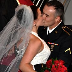 Military Wedding with red rose bouquet. I love my soldier!
