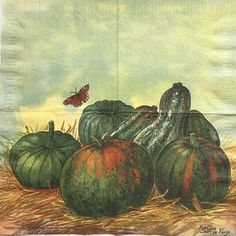 Rare Single(one)Avec napkin art Pumpkins  for collectie /decoupage,decoupage,under glass,mixed media,scrapbooking and  other art door Dalilasdecoupage op Etsy