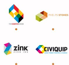 Very cubic and geometric, these logos seem to have appeal for more logical, process-oriented individuals who will show interest based on color-printing needs (thus the need for multiple colors) and lack of need for anything too artsy or detailed.