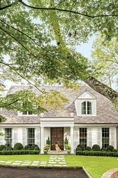 New house front landscaping curb appeal shutters ideas Colonial Cottage, Cottage Homes, Modern Cottage, White Cottage, Cottage Style, Cape Cod Cottage, Dutch Colonial, Cozy Cottage, Cozy House