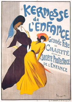 Vintage poster transfer? The trick would be getting it hi-res enough to use...    Kermesse de L'Enfance Cappiello