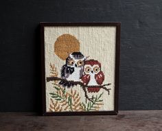 Owl Cross Stitch Embroidery  Vintage Frame by TheVintageParlor