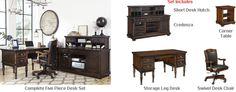 Ashley Porter Home Office Desk Set 3 Office Desk Set, Home Office Desks, Office Decor, The Porter, Dream Furniture, Furniture Collection, Hardware, Bronze