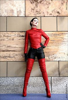 Style ideas for dresses, leggings, denim, and shirts to don along with very long over-the-knee boots. over the knee boot outfit summer Thigh High Boots Heels, Heeled Boots, Shoe Boots, Shoes, Leather Fashion, Fashion Boots, Leather And Lace, Leather Boots, Red Leather