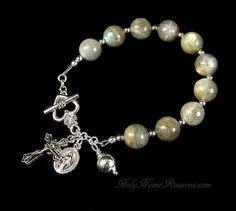 Labradorite Rosary Bracelet Miraculous Medal by HolyNameRosaries, $28.00