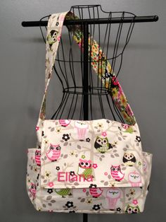 Messenger Style Diaper Bag  Owl Fabric by onesweetworldtreats, $48.00