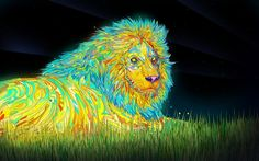 psychedelic, Anime, Colorful, Lion, Animals, Digital Art, Matei Apostolescu HD Wallpaper Desktop Background