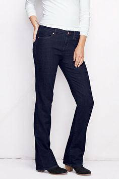 Women's Fit 2 Mid Rise Boot Cut Jeans - Dark Indigo Wash from Lands' End