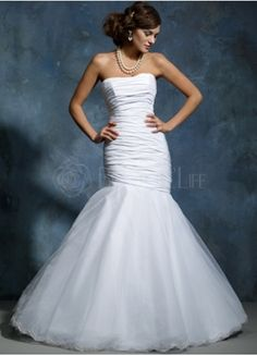 Satin Organza Strapless Mermaid Wedding Gown With Pleats.... This would be beautiful with a beaded sash/belt!