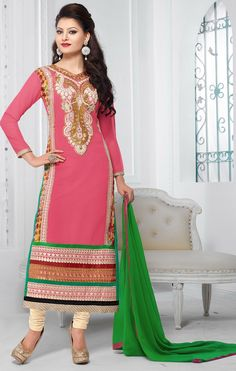 #UrvashiRautela Georgette Resham & Zari Work Pink Semi Stitched Straight Suit - Y13 at Rs 1845 #womenswear #fashion #clothing #partywear #salwar #georgette   #anarkali #designer #suits #georgette  #anarkalisuits