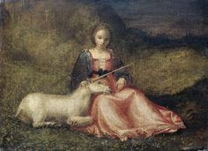 """Attributed to Giorgione, """"Lady with a Unicorn,"""" N.d., around 1510"""