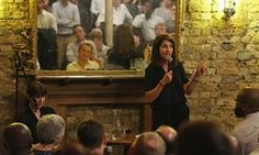 Liz Kendall takes part in a Q&A session at a pub in London.