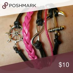 New black pink anchor infinity leather bracelet Comes with an adjustable clasp for that perfect fit! Jewelry Bracelets