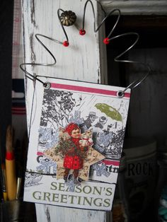 hanging ATC card #Christmas #ATC #ornament #alteredart #scrapbook