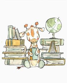 Love this etsy artist! Could go up by our children's-book shelves. Childrens Art Bookish Giraffe Art Print by trafalgarssquare Illustration Mignonne, Cute Illustration, Cute Drawings, Animal Drawings, Art Mignon, Giraffe Art, Cute Giraffe Drawing, Baby Art, Nursery Art