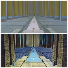 "ANH: The top image, rarely seen, shows the original production painting for the ""Throne Room"" sequence in Episode IV. Ralph McQuarrie preferred this top version which shows the Princess with arms upraised to welcome our heroes. For this shot, George Lucas wanted something akin to a Nazi rally with hundreds of troops lined up and huge banners on display."