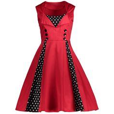 Midi Polka Dot Prom Rockabilly Swing Dress Vintage Prom Dresses - L L