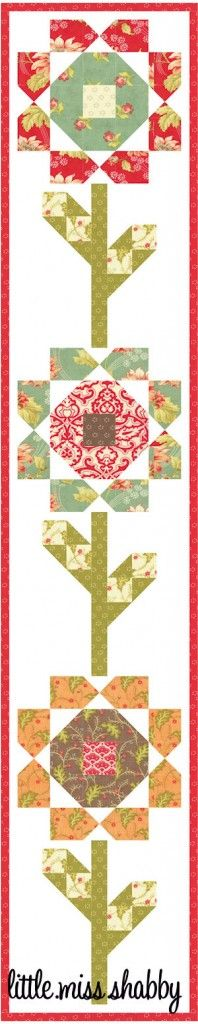 Blossoms Runner - Free quilt pattern (including this runner) from Little Miss Shabby.  So cute!