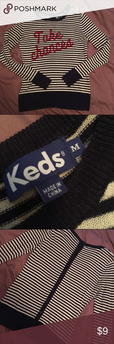 Take Chances Sweater Long sleeved sweater - navy blue and cream stripes with red graphic. Super cute buttons up the back seam! Excellent used condition. Keds Sweaters
