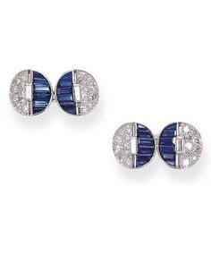 A FINE PAIR OF SAPPHIRE AND DIAMOND CUFF LINKS, BY VAN CLEEF ARPELS Each circular plaque designed with one side of calibré-cut sapphires the other of pavé-set diamonds with baguette-cut diamond detail, mounted in platinum Signed VCA NY for Van Cleef Arpels New York, no. 10408