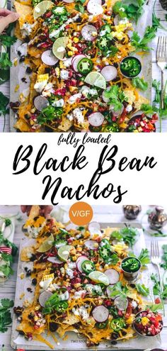 Fully Loaded Black Bean Nachos Vegan comfort food gluten-free and easy Great for entertaining blackbean nachos recipes simple easy vegan vegetarian mexican twospoons Vegan Mexican Recipes, Healthy Recipes, Simple Vegetarian Recipes, Vegan Black Bean Recipes, Vegetarian Nachos, Vegan Vegetarian, Vegetarian Mexican Food, Easy Vegan Food, Aperitivos Vegan