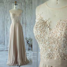 2016 Champagne Bridesmaid Dress, Mesh Illusion Wedding Dress, Sweetheart Lace Prom Dress, Long Chiffon Dress Floor Length (X015)