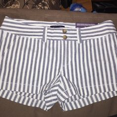 NWT AE shorts! Pale mint and navy striped! American Eagle Outfitters Shorts Jean Shorts