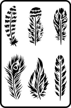 """Feathers - Jami Ray Vintage Stencil 11.5"""" x 17.5"""" Thickness: 15mlStencil Designed by Zeb & Jami Ray Feather Stencil, Feather Drawing, Feather Tattoo Design, Feather Art, Stencil Art, Stencil Designs, Paint Designs, Feather Template, Stencil Fabric"""