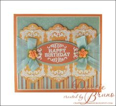 birthday card using @JustRite Papercraft, Inc. Birthday Vintage Labels Four with coordinating dies