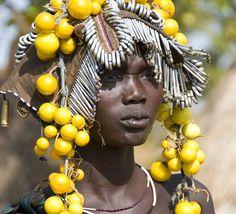 Ethiopia, portrait of a Mursi girl