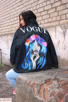 Items similar to Hand painted denim Jacket with painting Jacket with art work on Art on Denim jean Jacket with art pop-art Drawing flowers wreath of flowers on Etsy