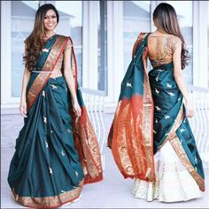 How about reusing an old saree from your mums closet and wearing it as a lehenga dupatta? it is affordable, chic and looks super stylish. Raw Silk Lehenga, Lehenga Dupatta, Lehenga Saree Design, Lehenga Style, Lehanga Saree, Indian Lehenga, Saree Wearing Styles, Saree Styles, Half Saree Designs