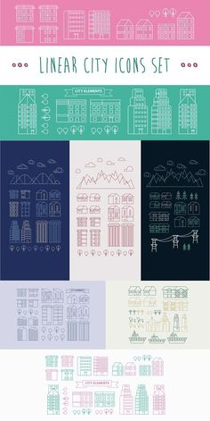 Linear City Infographic Elements.. Pattern Vectors