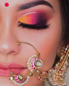 Who likes to include boring colours while celebrating an Indian wedding? An Indian Wedding means diversity—variety in functions, outfits, food, dance and what not! Bengali Bridal Makeup, Indian Wedding Makeup, Bridal Eye Makeup, Bridal Makeup Looks, Bride Makeup, Indian Eye Makeup, Arabic Makeup, Makeup Eye Looks, Eye Makeup Steps