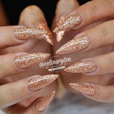 Glittery Rose Gold Stiletto Nails