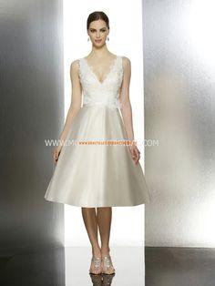 Moonlight Moderne Süße Knielange Brautkleider aus Taft mit Applikation
