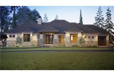 Plan Mountain Ranch House Plan with Large Covered Deck The stone trim on the lower half of Mountain Ranch House Plans, Mountain Home Exterior, Hip Roof, European House, Level Homes, New House Plans, Ranch Style, The Ranch, Large Windows