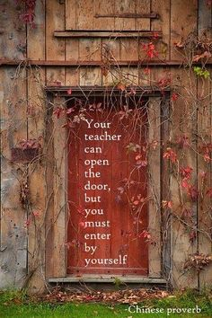 Your teacher can open the door, but you must enter by yourself.    - Chinese proverb