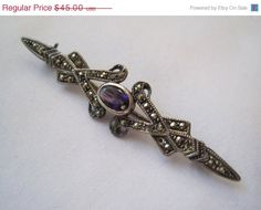 Memorial Day SALE Vintage Sterling and Amethyst Brooch on Etsy, $43.06 AUD