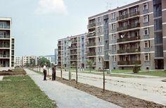 Kilián-dél, Gagarin utca a Benedek Elek utca felől nézve. 1965 Hungary, Multi Story Building