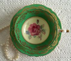 Green Paragon China Tea Cup & Saucer