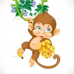 Buy Cute Baby Monkey With Banana Isolated On a White by azuzl on GraphicRiver. Cute baby monkey with banana isolated on a white background Jungle Drawing, Fly Drawing, Monkey Drawing Easy, Cartoon Drawings, Easy Drawings, Decoration Creche, Cute Baby Monkey, Monkey And Banana, Monkey Tattoos