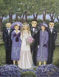 """Jo Héliotrope artiste peintre français huile sur toile 2008 """"Photo de famille mariage"""""""