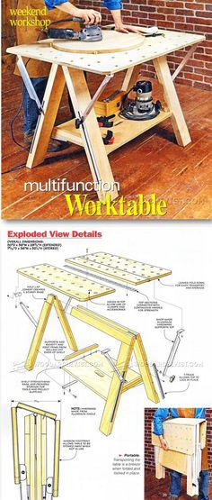 Folding Work Bench Plans - 15 Folding Work Bench Plans , Folding Work Table Plans Workshop solutions Projects Tips Woodworking Workshop, Woodworking Jigs, Woodworking Projects, Japanese Woodworking, Woodworking Machinery, Carpentry, Workbench Plans, Folding Workbench, Homemade Tools