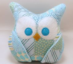 Plush Owl Pillow  patched owl minky  light turquoise by aprilfoss, $34.00