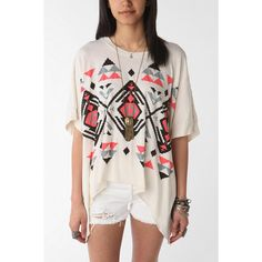 Soft Tribal Oversized Tee - Cream - One Size ($39) ❤ liked on Polyvore featuring tops, t-shirts, tribal, womens tops graphics, cotton t shirt, oversized tee, long length t shirts, scoop neck t shirt and oversized graphic tees